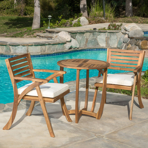 Outdoor 3-Piece Teak Finish Acacia Wood Bistro Set with Cream Cushions - NH126692