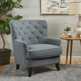 Contemporary Button Tufted Upholstered Fabric Club chair w/ Piped Edges - NH314103