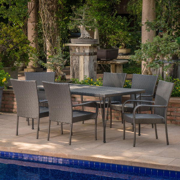 Outdoor 7 Piece Gray Wicker Rectangular Dining Set with Stacking Chairs - NH971203