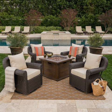 Outdoor 5 Piece Wicker Swivel Club Chairs with Brown Gas Fire Pit - NH628203