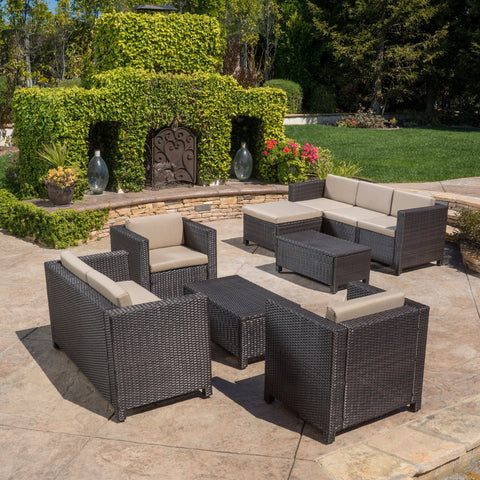 9pc Outdoor Wicker Sectional Sofa Set w/ Cushions - NH091892