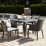 Outdoor 5 Piece Gray Wicker Dining Set with Water Resistant Cushions - NH664203