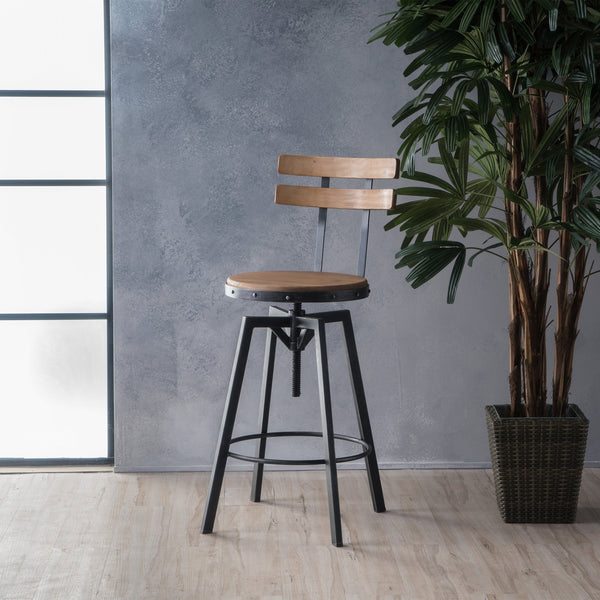 Anique Finish Firwood Height Adjustable Bar Stool - NH329992