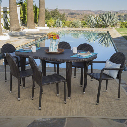 Outdoor 7 Piece Multi-brown Wicker Dining Set with Stacking Chairs - NH507203