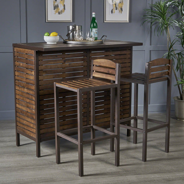 Indoor Dark Brown Acacia Bar Set with Rustic Metal Finish Accents - NH718303