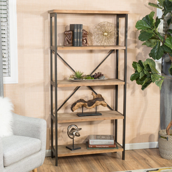 Rustic 4 Shelf Wood & Metal Etagere Bookcase - NH929692