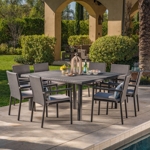 Outdoor 9 Piece Wicker Dining Set with Water Resistant Cushions - NH419303