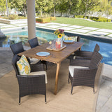 Outdoor 7 Piece Teak Finished Acacia Wood Rectangular Dining Set - NH997203