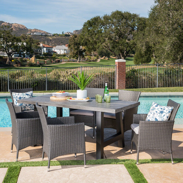 Outdoor 7 Piece Wicker Dining Set with Light Weight Concrete Table - NH597303