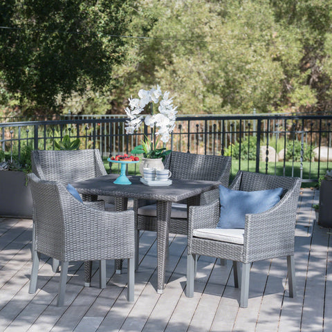 Outdoor 5 Piece Gray Wicker Dining Set with Water Resistant Cushions - NH123203
