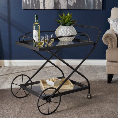 Indoor Traditional Black Iron Bar Cart with Tempered Glass Shelves - NH675203