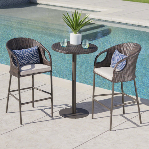 Outdoor 3 Piece Multi-brown Wicker Round Bar Set - NH318203