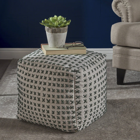 Fabric Square Pouf Ottoman - NH417103