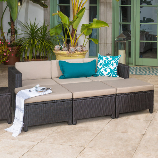 Outdoor Wicker Daybed Set w/ Water Resistant Cushions - NH474003