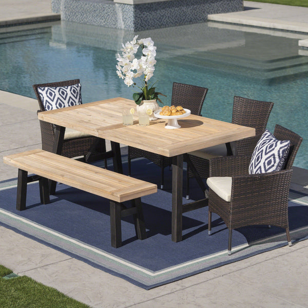 Outdoor 6 Piece Acacia Wood Dining Set with Wicker Dining Chairs - NH687203