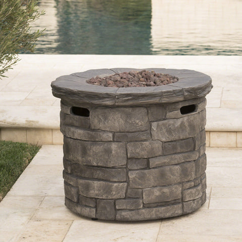 Outdoor Gray Circular Fire Pit - 40,000 BTU - NH122303