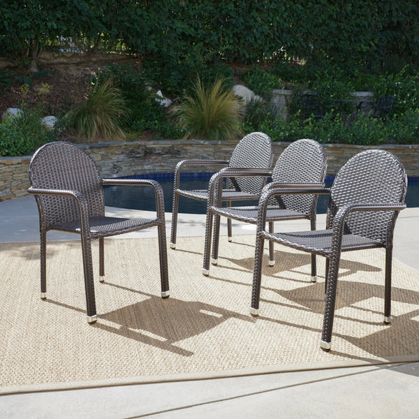Outdoor Wicker Armed Stack Chairs With Aluminum Frame (Set of 4) - NH542103