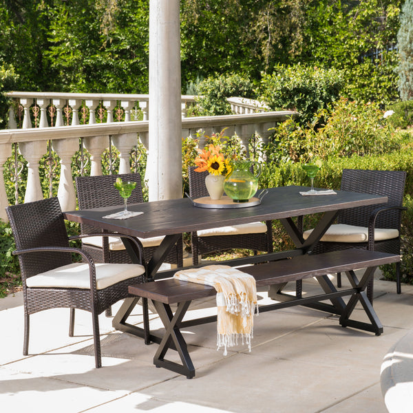 Outdoor 6 Piece Brown Aluminum Dining Set with Bench and Wicker Dining Chairs - NH494203