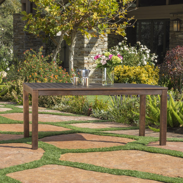 Rustic Outdoor Slatted Dark Brown Acacia Wood Dining Table - NH628992
