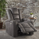 Microfiber Power Recliner With Storage, USB Charger, and Cup Holder - NH540203