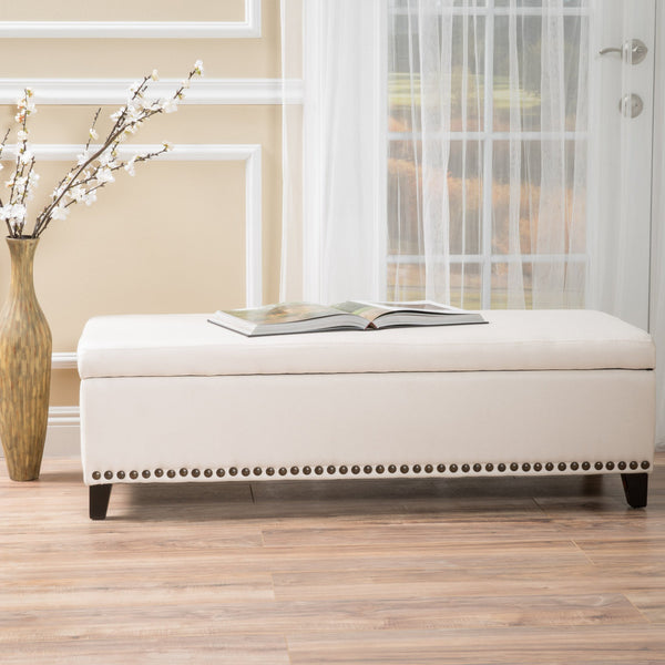 Fabric Upholstered Storage Ottoman with Nailhead Trim - NH778892