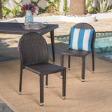 Outdoor Aluminum Frame Wicker Stackable Dining Chairs - Set of 2 - NH932103