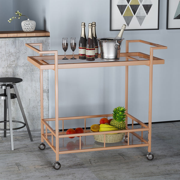 Modern Iron and Glass Bar Cart - NH664403