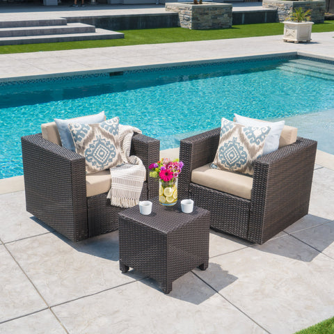 2-Seater Brown Wicker Outdoor Chat Set with Side Table - NH809103