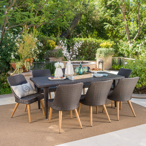 Outdoor 9 Piece Multi-brown Wicker Dining Set with Wood Finished Metal Leg - NH635103