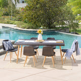 Outdoor 7 Piece Multi-brown Wicker Rectangular Dining Set - NH479103