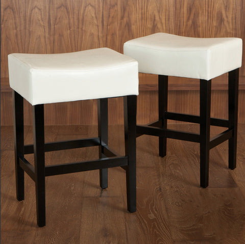 26-Inch Backless Leather Counter Stools (Set of 2) - NH525732