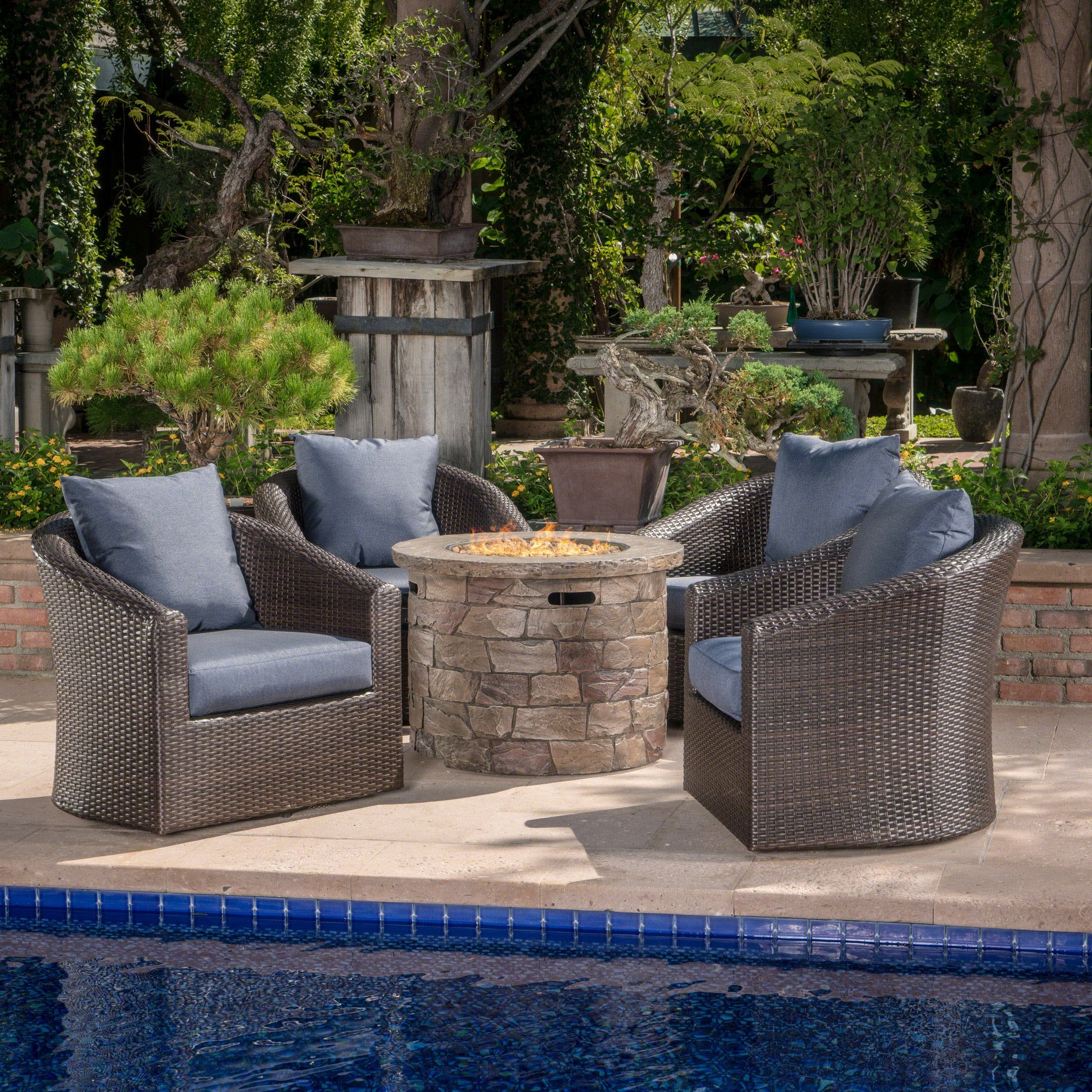 Outdoor 5 Piece Wicker Swivel Club Chair Fire Pit Chat Set Nh735203 Noble House Furniture