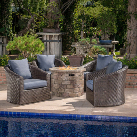 Outdoor 5 Piece Wicker Swivel Club Chair Fire Pit Chat Set - NH735203