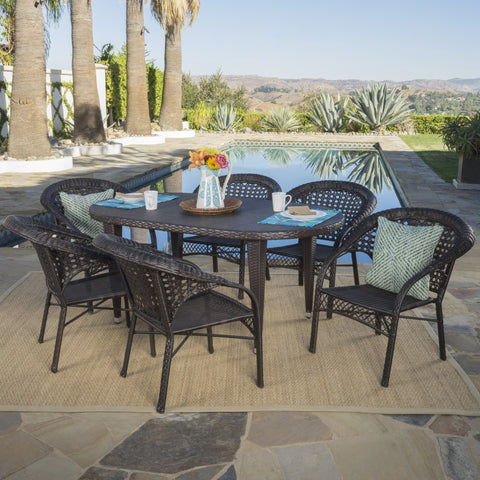 Outdoor 7 Piece Multi-brown Wicker Oval Dining Set with Stacking Chairs - NH356203