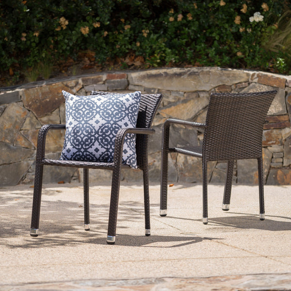 Outdoor Wicker Armed Aluminum Framed Stack Chairs (Set of 2) - NH332103