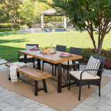 Outdoor 6 Piece Teak Finished Acacia Wood Dining Set with Dining Chairs - NH855203