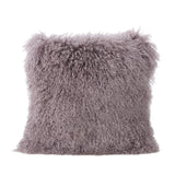 Shaggy Light Purple Lamb Fur Square Pillow - NH380303