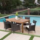 Outdoor 7 Piece Wicker Dining Set with Expandable Dining Table - NH675303