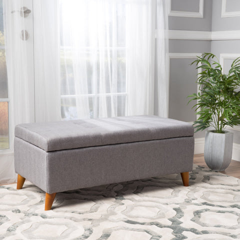 Mid-Century Modern Button Tufted Fabric Storage Ottoman Bench - NH367992