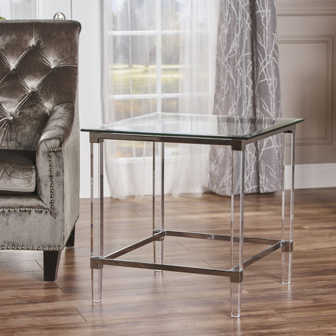 Acrylic and Tempered Glass Square Side Table - NH432203
