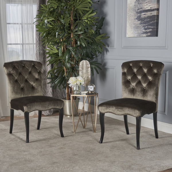 Traditional Tufted Gray New Velvet Armless Dining Chairs (Set of 2) - NH520203