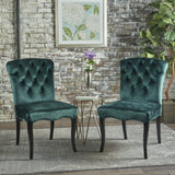 Traditional Teal New Velvet Armless Dining Chairs (Set of 2) - NH694103