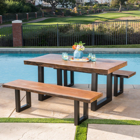 Outdoor 3 Piece Faux Live Edge Teak Finish Lightweight Concrete Picnic Set - NH408303