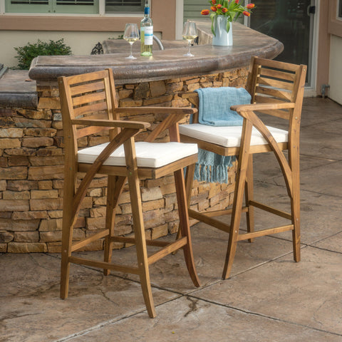 30-Inch Teak Finish Acacia Wood Outdoor Barstools - NH538992
