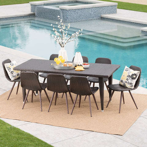 Outdoor 9 Piece Multi-brown Wicker 75 Inch Rectangular Dining Set - NH969103