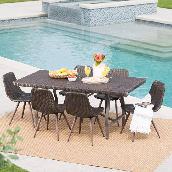 Mid-Century Modern Outdoor 7-Piece Multi-Brown Wicker Dining Set - NH079103