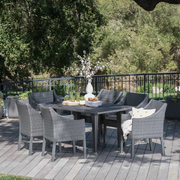 Outdoor 7 Piece Gray Wicker Dining Set with Water Resistant Cushions - NH023203