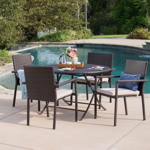 Outdoor 5 Piece Multi-brown Wicker Dining Set with Foldable Table - NH900203