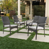 Grey Wicker Stackable Patio Armchairs (Set of 4) - NH454992