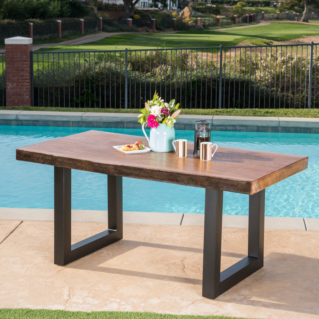 Outdoor Faux Live Edge Teak Finish Lightweight Concrete Dining Table Noble House Furniture